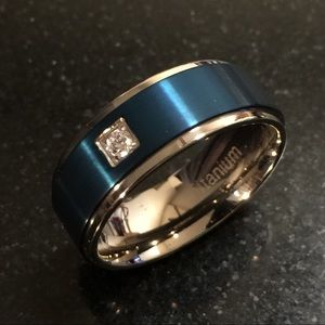 White CZ Band Ring in Ion plated Blue & Titanium
